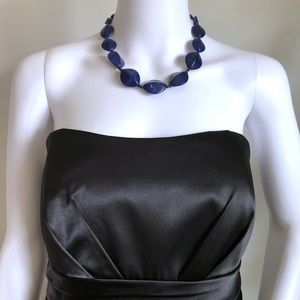 """Abstract Necklace 20"""" Royal Blue Marble Vein Beads"""